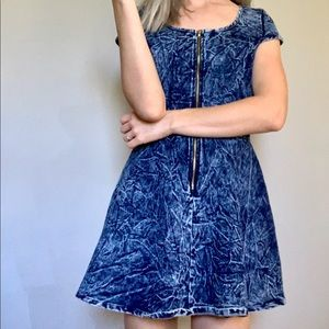 Milkyway 80's Style Denim Dress Acid Wash